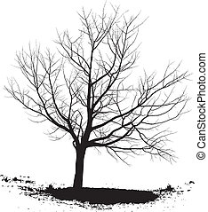 Silhouette cherry tree black drawings on a white background