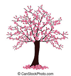 vector illustration of many cherry blosoms on a tree