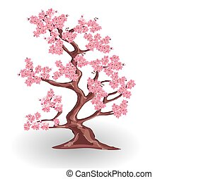 Cherry tree with pink flowers. Sakura. isolated on white background. illustration