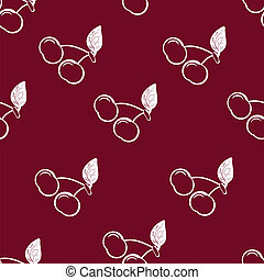 Cherry - cherries on burgundy background, seamless pattern,...