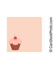 Cherry vector cupcake on pink