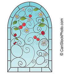 cherry window - an illustration of a beautiful stained glass...