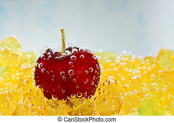 cherry with bubbles