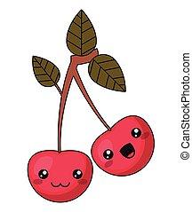 Cherry with kawaii face design