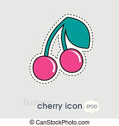 Cherry with leaf icon. Cherry fruit sign