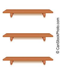 Cherry Wood Shelves - Three narrow cherry wood wall shelves...