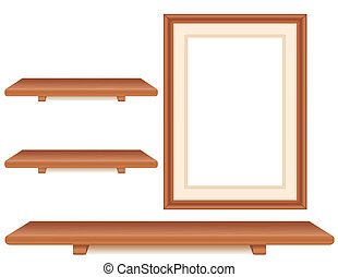 Wall group of cherry wood shelves, picture frame isolated on white. Copy space to add your favorite art and treasures. EPS8 in groups for easy editing.