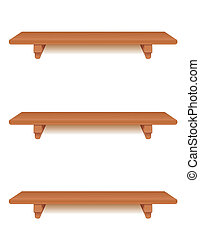 Three narrow cherry wood wall shelves with brackets isolated on white. Add your favorite books and treasures. EPS8 in groups for easy editing.