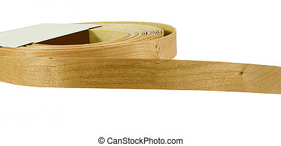 cherry wood veneer tape on a white background
