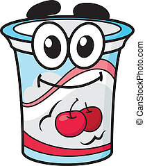 Cherry yoghurt, milk or cream happy cute cartoon style plastic package character for fresh food design