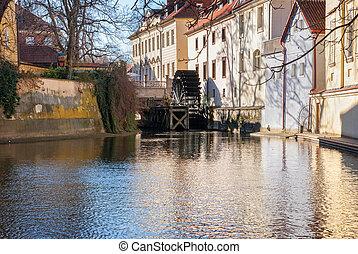 chertovka, Rio, antigas, Praga,  Watermill
