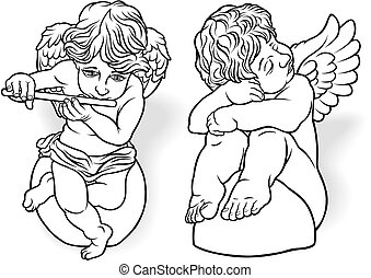 Cherub Set - Black Outlined Illustrations, Vector