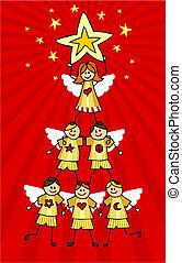 cherubs, boompje, kerstmis