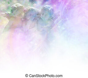 Three cheeky cherubs gazing out thoughtfully on an ethereal pastel colored background fading to white with plenty of copy space