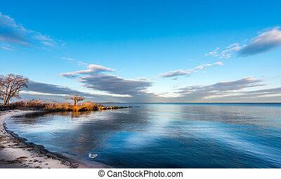 Chesapeake Bay Sky - Sunset on a Chesapeake Bay beach in...