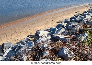 chesapeake, hintáztatni, tengerpart homok, öböl