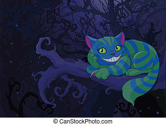 Illustration of Cheshire cat sitting on a branch on the fairy forest background