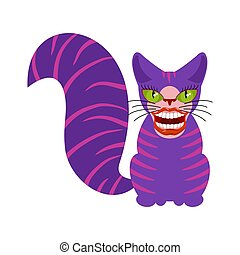 Cheshire cat is an animal from Alice in Wonderland. Broad smile. Teeth and Mouth