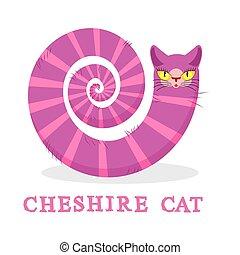 cheshire, cat., magia, animale, con, lungo, tail., strisce, fairy, racconto, di, il, bestia