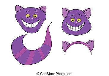cheshire, cat., magia, animale, con, lungo, tail.
