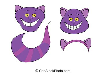 Cheshire Cat. Magic animal with long tail.