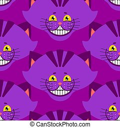 Cheshire cat smile pattern. texture Fantastic pet alice in wonderland. Magic animal background