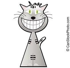cheshire, gatto, cartone animato, carattere