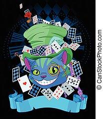 cheshire, gatto, in, cappello a cilindro, disegno