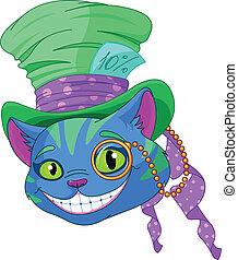cheshire, gatto, in, cappello a cilindro
