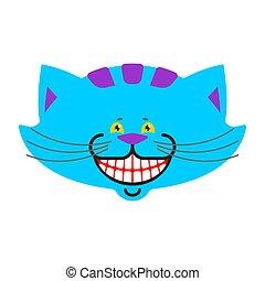cheshire, gatto, sorriso, isolated., fantastico, coccolare, alice, in, wonderland., magia, animale