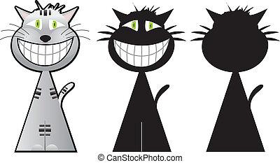 cheshire, gatto, tre, forme