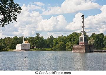 "Chesme Column and Pavilion ""Turkish bath"". Tsarskoye Selo (Pushkin), St. Petersburg, Russia."