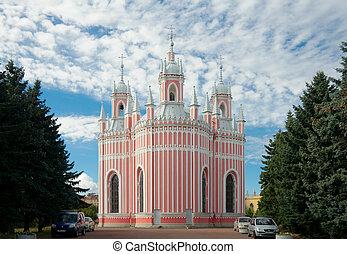chesme, templom, szent, petersburg, oroszország, hát, emelés