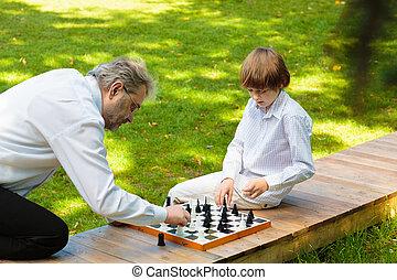 chess., אבא, ילדים, סבא, לשחק