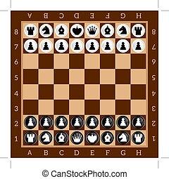 chess., テーブル, game., セット, の, 黒い、そして白い, 数字。, ブラウン, checkered,...