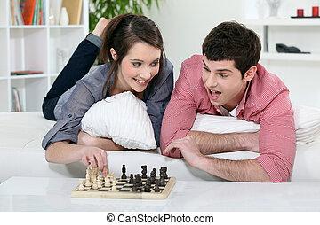 chess., 恋人, ティーネージャー, 遊び