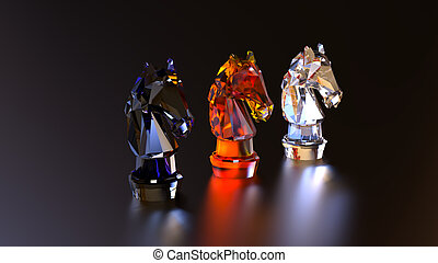 Chess 3 pieces horses made of glass.