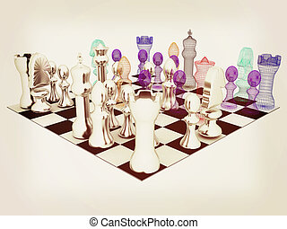 Chess. 3D illustration. Vintage style.