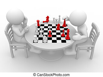 Chess - 3d people - human character, person at a table...