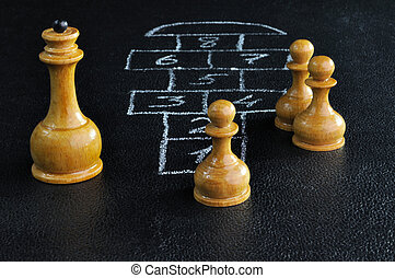 Chess and hopscotch board - Chess figures playing hopscotch...