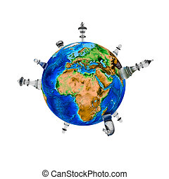 Chess around the world - 3D
