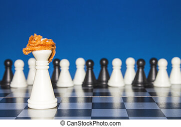 Chess as a policy. A lone white figure with red hair. The public looks from the outside.
