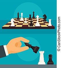 Chess banner set, flat style