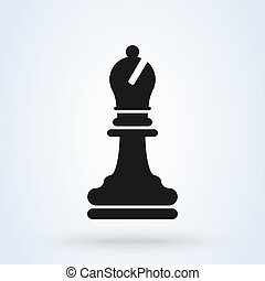 Chess Bishop Icon In Flat Style Vector