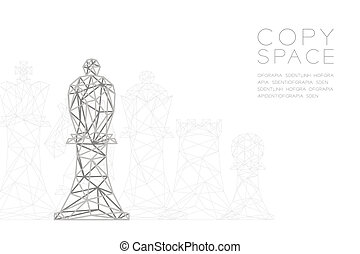 Chess Bishop wireframe Polygon silver frame structure, Business strategy concept design illustration isolated on black gradient background with copy space, vector eps 10