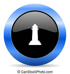 Chess black and blue web design round internet icon with shadow on white background.