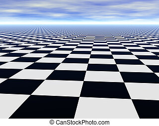 Chess black and white infinite floor and cloudy blue sky -...