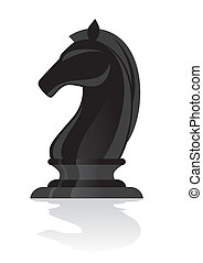chess black knight isolated with shadow