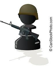 Chess black pawn with a gun
