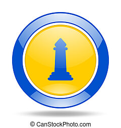 chess blue and yellow web glossy round icon